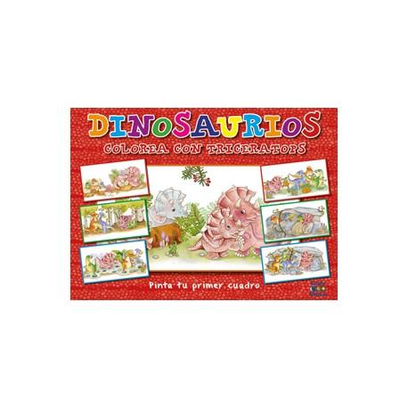Pinta tu primer cuadro: Dinosaurio Colorea con Triceratops
